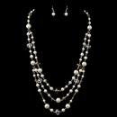 Elegance by Carbonneau NE-82034-G-LT-BROWN Gold Light Brown & Clear Rondelle Bead & Diamond White Pearl Drape Jewelry Set