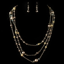 Elegance by Carbonneau NE-82036-G-BROWN Gold Brown Cream Pearl & AB Rondelle Crystal Fashion Jewelry Set