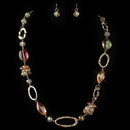 Elegance by Carbonneau NE-82037-G-Orange Gold Orange Peach AB Crystal Fashion Jewelry Set 82036