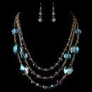 Elegance by Carbonneau NE-82048-G-Blue Gold Blue Rondelle Crystal Beaded Fashion Jewelry Set 82045