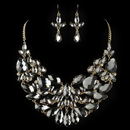 Elegance by Carbonneau NE-82050-G-Smoke Gold Smoke Pear Cut Rhinestone Jewelry Set 82050