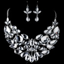 Elegance by Carbonneau NE-82050-RD-CL Rhodium Clear Pear Cut Rhinestone Jewelry Set 82050