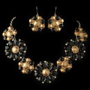 Elegance by Carbonneau NE-82052-G-Black Gold Black Copper Stone Flower Fashion Jewelry Set 82045