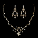 Elegance by Carbonneau NE-8215-G-Clear Gold Clear Rhinestone Floral Vine Necklace & Chandelier Earrings Bridal Jewelry Set 8215