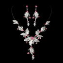 Elegance by Carbonneau NE-8280-silverpink Necklace Earring Set NE 8280 Pink