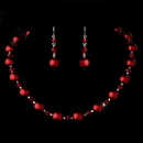 Elegance by Carbonneau NE-8355-Red Necklace Earring Set NE 8355 Red
