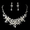 Elegance by Carbonneau NE-8472-Silver-Clear Charming Silver Clear Crystal Flower Necklace & Earring Set 8472