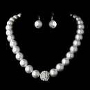 Elegance by Carbonneau NE-8545 Silver Clear Crystal and Pearl Necklace Earring Set 8545 (White or Ivory)