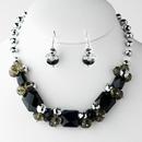 Elegance by Carbonneau NE-8548-Black Black Necklace Earring Set 8548