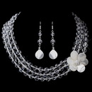 Elegance by Carbonneau NE-8700-S-Clear Crystal & Mother-Of-Pearl Flower Necklace & Earrings Set NE 8700