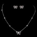 Elegance by Carbonneau ne-8723-silver Butterfly CZ Necklace & Earring Set 8723