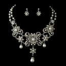Elegance by Carbonneau NE-8733-AS-White Antique Silver White Pearl Flower Necklace & Earrings Bridal Jewelry Set 8733