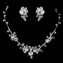 Elegance by Carbonneau NE-9311-S-Clear Silver Clear Swarovski Crystal Bread and Rhinestone Necklace & Earrings Jewelry Set 9311