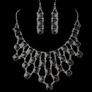Elegance by Carbonneau NE-9502-S-Black Silver Black Acrylic Stone Fashion Jewelry Set 9502