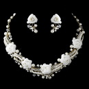 Elegance by Carbonneau NE-9613-G-Ivory Gold Ivory Pearl, Rhinestone & Swarovski Crystal Necklace & Earrings Flower Jewelry Set 9613