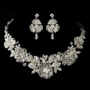 Elegance by Carbonneau Silver Clear Rhinestone Necklace & Earrings Floral Leaf Jewelry Set 9687