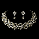 Elegance by Carbonneau NE-969-AS-DW Silver Diamond White Necklace & Earrings Jewelry Set NE 969