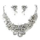 Elegance by Carbonneau NE-9695-AS-Clear Antique Silver Clear Swarovski Crystal & Rhinestone Necklace & Earrings Jewelry Set 9695