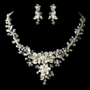 Elegance by Carbonneau NE-9696-S-FW Silver Diamond White Freshwater Pearl, Crystal & Rhinestone Necklace & Earrings Jewelry Set 9696