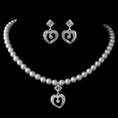 Elegance by Carbonneau NE-C-466-S-IV Silver Ivory Pearl & Rhinestone Heart Child's Jewelry Set 466