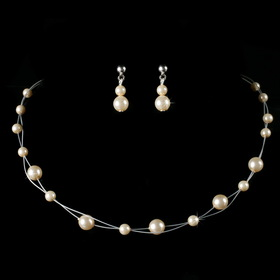 Elegance by Carbonneau NE-C-8441-Silver-Ivory Children's Necklace Earring Set8441 Silver Ivory