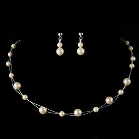 Elegance by Carbonneau NE-C-8441-Silver-Ivory Children's Necklace Earring Set8441 Silver Ivory