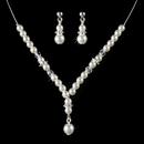 Elegance by Carbonneau NE-C-8442-Silver-White Children's Necklace Earring Set8442 Silver White