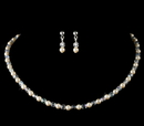 Elegance by Carbonneau NE-C-8443-Silver-Ivory Precious Children's Silver Ivory Pearl & AB Crystal Bead Necklace & Earring Set 8443