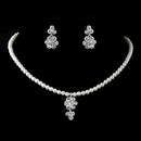 Elegance by Carbonneau Child's Silver White Pearl & Rhinestone Necklace & Earrings Jewelry Set 9759