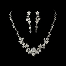 Elegance by Carbonneau NE-1320-Silver-Clear Swarovski Crystal Floral Bridal Jewelry Set NE 1320 Silver Clear
