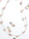 Elegance by Carbonneau NE-226-Pink Pink Pearl & Swarovski Crystal Jewelry Set NE 226