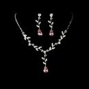 Elegance by Carbonneau NE-328-Dangle-Silver-Clear-Pink Silver Clear Pink Dangle Floral Bridal Set NE 328