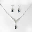 Elegance by Carbonneau NE344silvernavyblue Silver Navy Blue Crystal Drop Jewelry Set NE 344