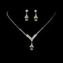 Elegance by Carbonneau NE344silverperidotgreen Silver Peridot Green Crystal Drop Jewelry Set NE 344