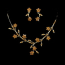 Elegance by Carbonneau NE363gld Beautiful Floral Gold Bridal Jewelry Set NE 363