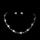 Elegance by Carbonneau NE384ab Silver AB Floral Rhinestone Necklace & Earring Set NE 384