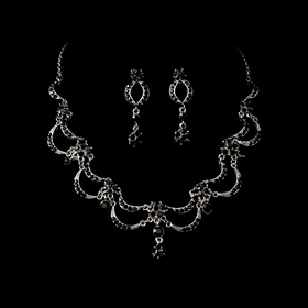 Elegance by Carbonneau NE411asvblk Victorian Antique Silver Black Jewelry Set NE 411
