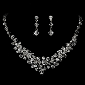 Elegance by Carbonneau NE7602 Silver Clear Swarovski Crystal Necklace & Earring Set NE 7602