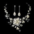 Elegance by Carbonneau NE7822-SilverPearl Freshwater Pearl Necklace & Earring Set NE 7822