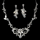 Elegance by Carbonneau NE-8312-Silver-Clear Silver & Clear Crystal Necklace Earring Bridal Jewelry Set NE 8312