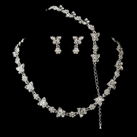 Elegance by Carbonneau NE-2876-S-Clear-B-2876 Silver Clear Rhinestone Necklace, Earrings, Bracelet 3 Piece Bridal Butterfly Jewelry Set NE 2876 & B 2876