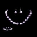 Elegance by Carbonneau NEB-8325-Purple Necklace Earring Bracelet Set 8325 Purple