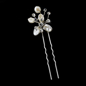 Elegance by Carbonneau Pin-105 Keshi Flower Rhinestone Accent Pin-105