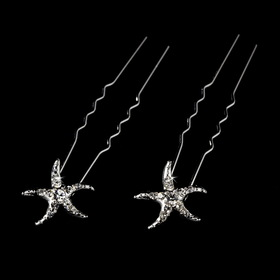 Elegance by Carbonneau Pin-2118-Starfish Crystal Starfish Hair Pin (Set of 2)