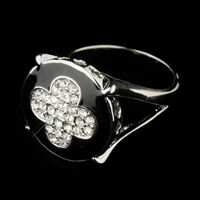 Elegance by Carbonneau Ring-10-S-Black Silver Black & CZ Crystal Clover Cocktail Bridal Ring 7571