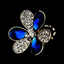 Elegance by Carbonneau Ring-1001-Gold-Royal-Blue Lovely Gold Royal Blue Flower Ring 1001