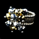 Elegance by Carbonneau Ring-473-Gold Silver Stretch Ring with Gray and Gold Shadow Crystals 473