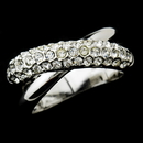 Elegance by Carbonneau Ring-7003 Radiant Silver Clear Crystal Criss-Cross Ring 7003