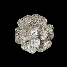 Elegance by Carbonneau Ring-8228 Fabulous Silver Clear CZ Flower Ring 8228