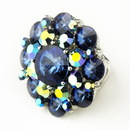 Elegance by Carbonneau Ring-9-S-Blue-AB Silver Blue & AB Crystal Flower Bridal Ring 9